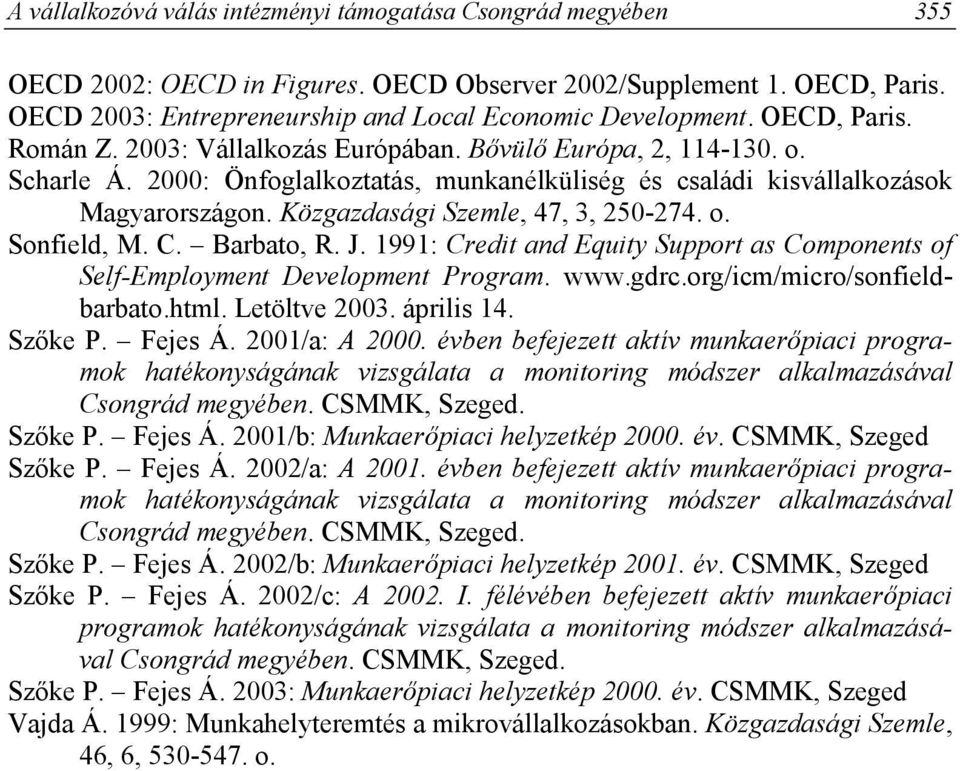 Közgazdasági Szemle, 47, 3, 250-274. o. Sonfield, M. C. Barbato, R. J. 1991: Credit and Equity Support as Components of Self-Employment Development Program. www.gdrc.org/icm/micro/sonfieldbarbato.