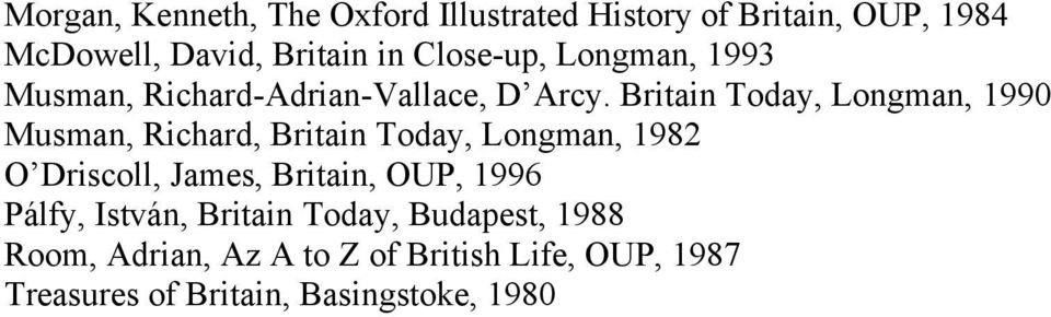Britain Today, Longman, 1990 Musman, Richard, Britain Today, Longman, 1982 O Driscoll, James, Britain,