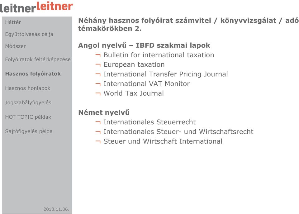 International Transfer Pricing Journal International VAT Monitor World Tax Journal Német