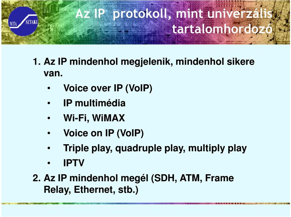 Voice over IP (VoIP) IP multimédia Wi-Fi, WiMAX Voice on IP (VoIP)