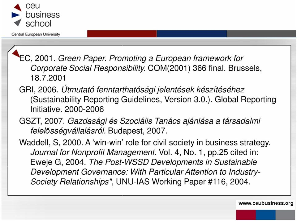 Gazdasági és Szociális Tanács ajánlása a társadalmi felelısségvállalásról. Budapest, 2007. Waddell, S, 2000. A win-win role for civil society in business strategy.