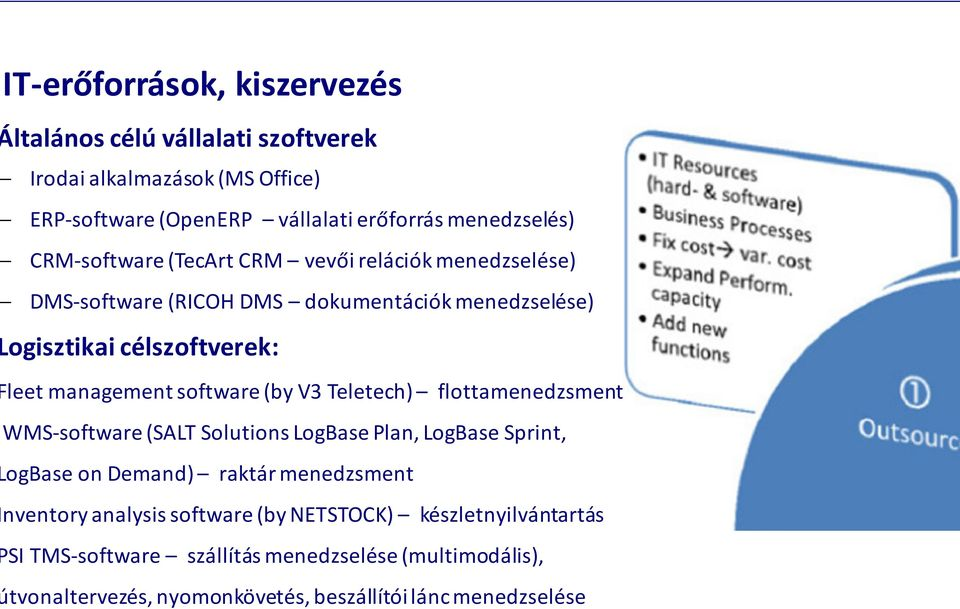 software (by V3 Teletech) flottamenedzsment WMS-software(SALT SolutionsLogBasePlan, LogBaseSprint, ogbaseondemand) raktár menedzsment nventory analysis