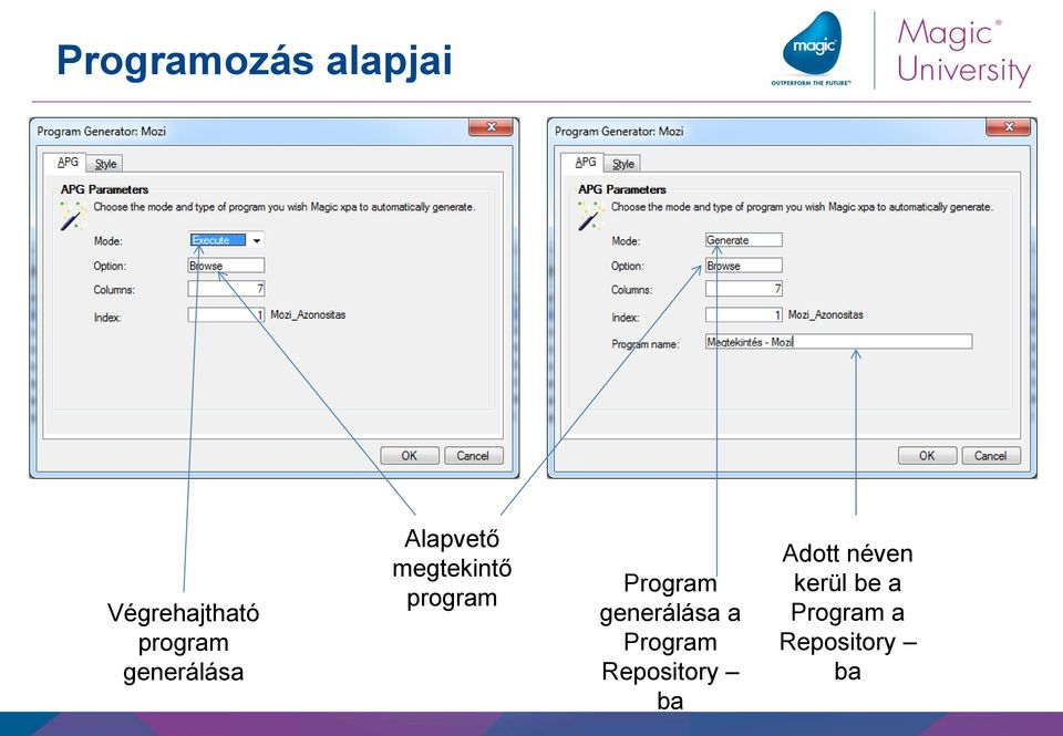 Program generálása a Program Repository ba