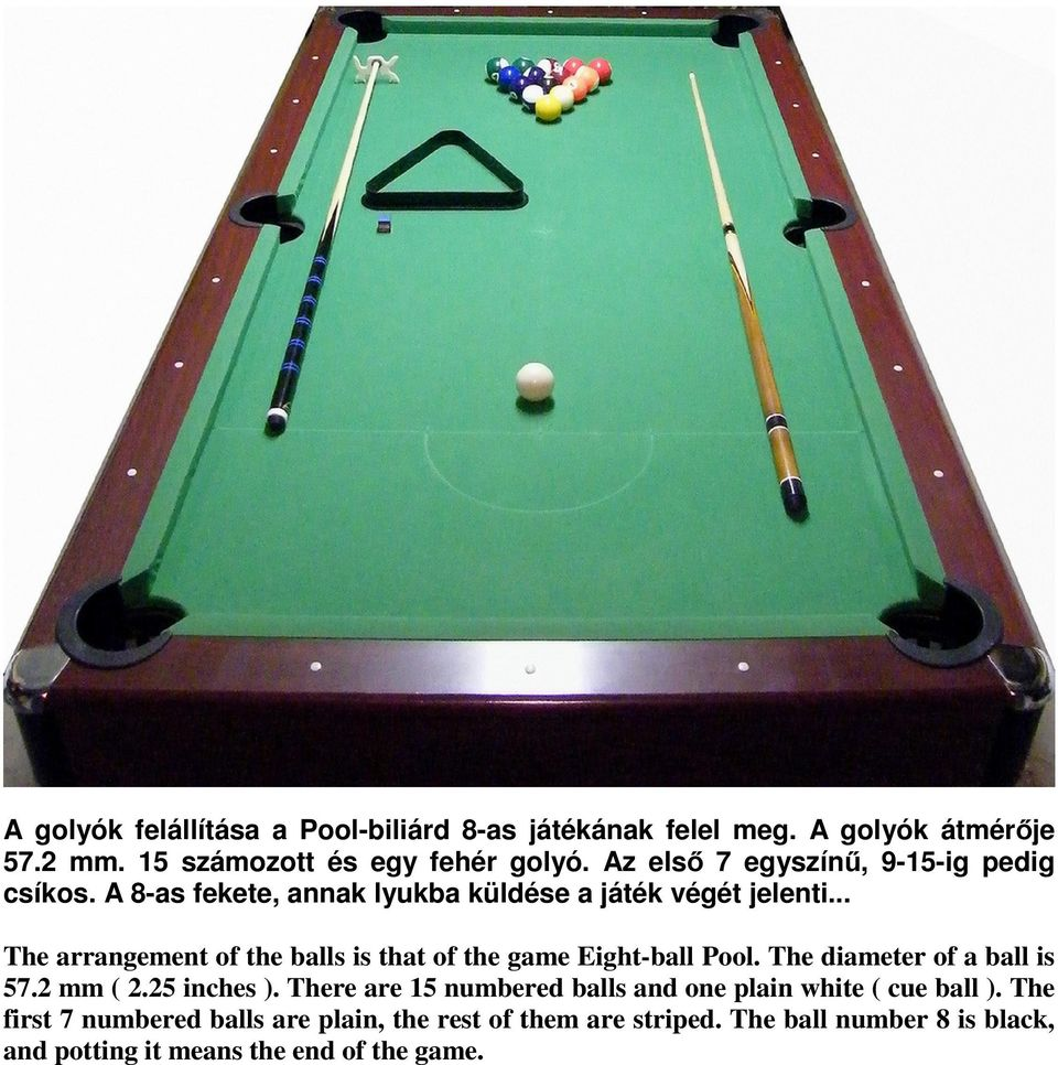.. The arrangement of the balls is that of the game Eight-ball Pool. The diameter of a ball is 57.2 mm ( 2.25 inches ).