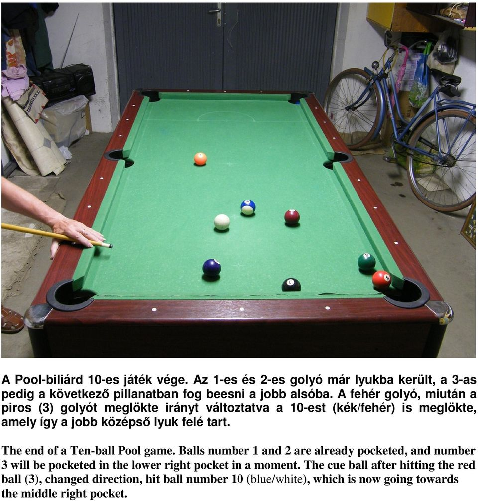 The end of a Ten-ball Pool game. Balls number 1 and 2 are already pocketed, and number 3 will be pocketed in the lower right pocket in a moment.