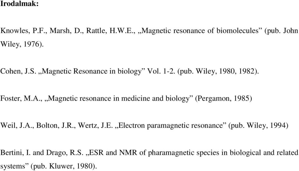 , Magnetic resonance in medicine and biology (Pergamon, 1985) Weil, J.A., Bolton, J.R., Wertz, J.E.