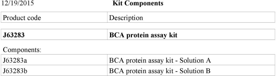 Description BCA protein assay kit BCA