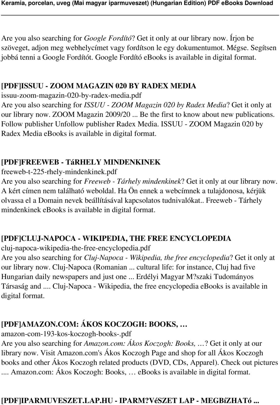 pdf Are you also searching for ISSUU - ZOOM Magazin 020 by Radex Media? Get it only at our library now. ZOOM Magazin 2009/20... Be the first to know about new publications.
