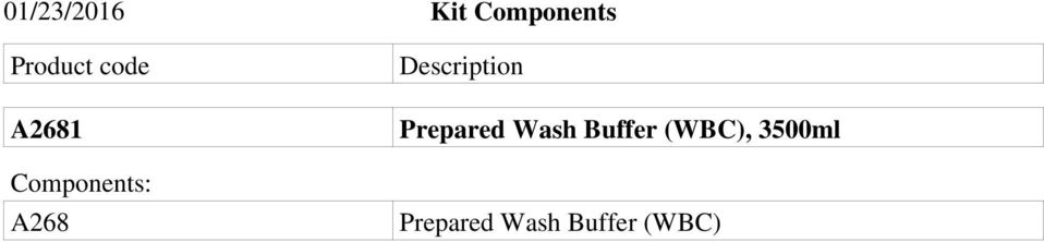 Description Prepared Wash Buffer