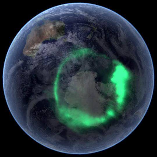 Déli sarkon is: aurora australis A NASA IMAGE satellite