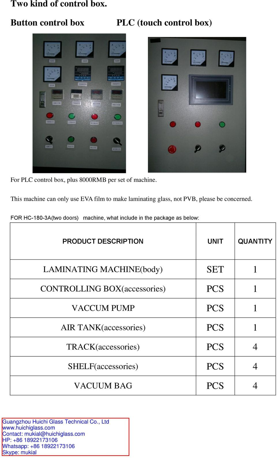 FOR HC-180-3A(two doors) machine, what include in the package as below: PRODUCT DESCRIPTION UNIT QUANTITY LAMINATING