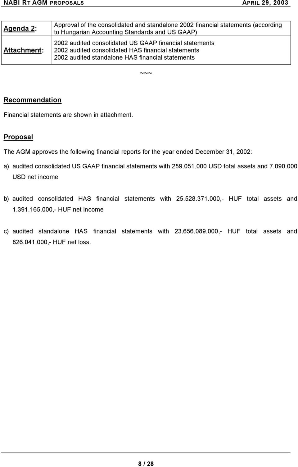 attachment. Proposal The AGM approves the following financial reports for the year ended December 31, 2002: a) audited consolidated US GAAP financial statements with 259.051.