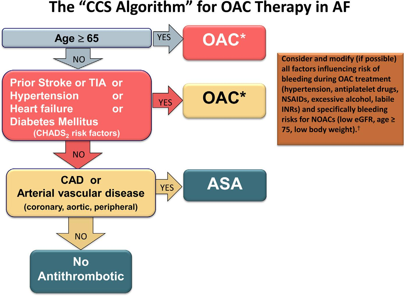 We recommend that when OAC therapy is indicated for patients with nonvalvular AF, most patients should receive dabigatran, rivaroxaban, apixaban, or